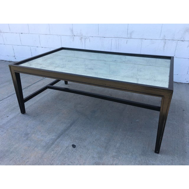 Antique Mirror Top Coffee Table With Ebonized Black Walnut Frame For Sale - Image 13 of 13