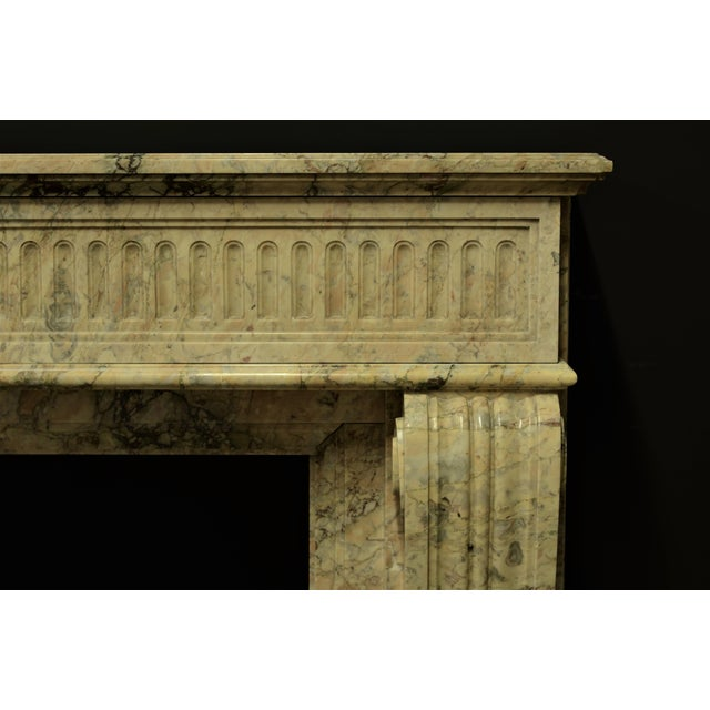 Antique Escallete Marble Louis XVI Fireplace Mantel - Free Shipping - For Sale - Image 4 of 9