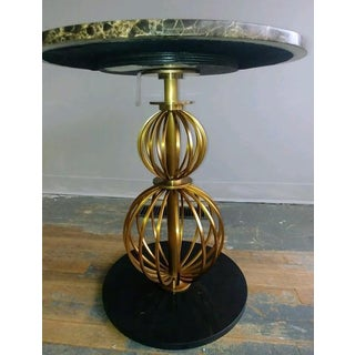 Hollywood Regency Henredon Furniture Barbara Barry Marble & Brass Round Poodle Table Preview