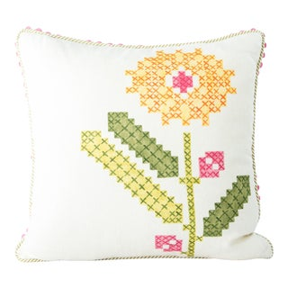 Folk Art Hand-Painted Floral Pillow For Sale