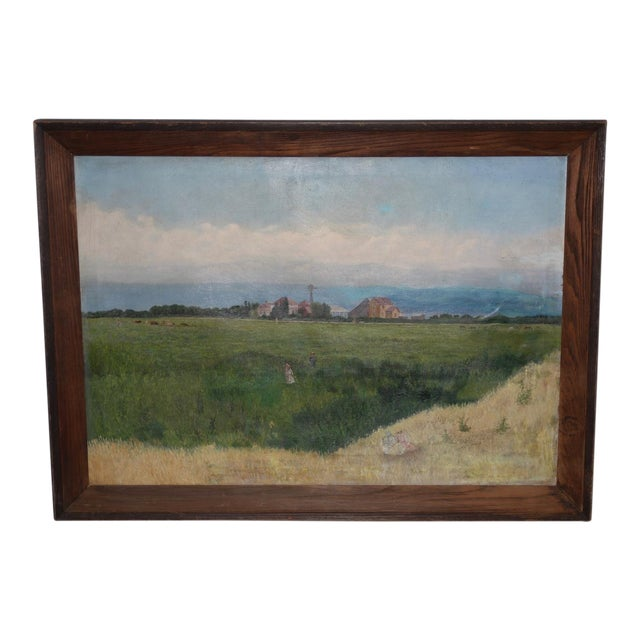 Prather Fresno Family Farm, Prather, Ca Historical Oil Painting 19th Century For Sale