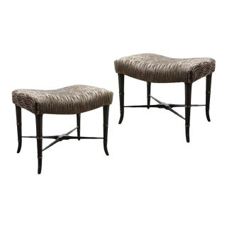 Mid-Century Modern X-Form Stools in Gauffraged Smoked Bronze Velvet - A Pair For Sale