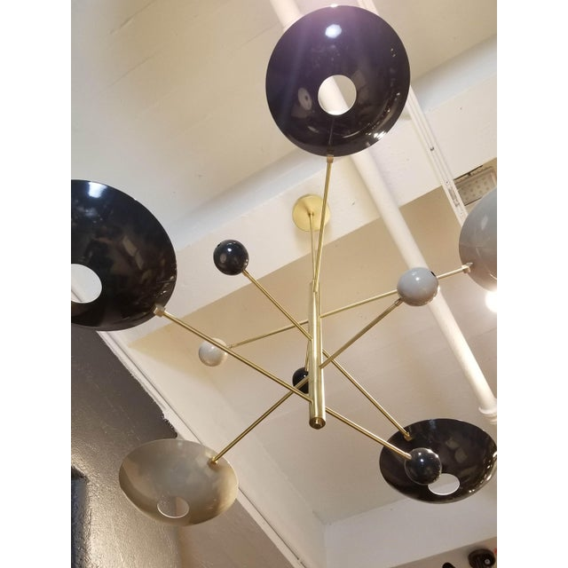 "Blueprint Lighting ""Catalonia"" Chandelier in Enamel & Brass by Blueprint Lighting For Sale - Image 4 of 11"