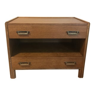 1970s Mid-Century Modern McGuire Oak Nightstand For Sale