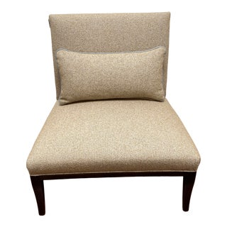 """Transitional Century Furniture Tweedy Bouclé Caramel Upholstery With City/Dark Finish """"Purity"""" Side Chair For Sale"""