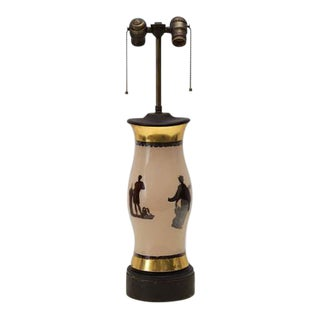 Hurricane Decoupage Lamp Reverse Painted Glass Greek Gods For Sale