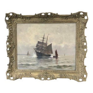 """""""Ships Heading Into Harbor"""" Oil Painting by Marshall Johnson For Sale"""