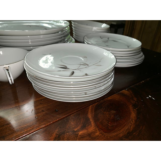 Sango Bamboo Knight Grey Bamboo Platinum Trim-Partial Dinnerware Set - 41 Plates, Reduced For Sale - Image 4 of 12