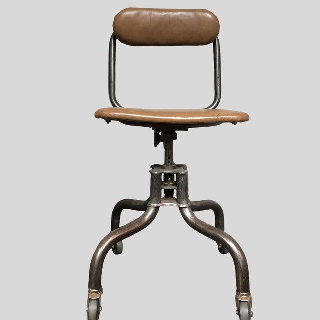 Vintage Industrial Metal Desk Chair For Sale In Los Angeles - Image 6 of 6