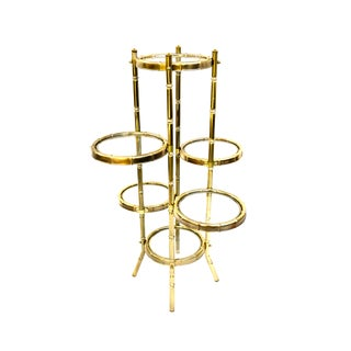 "Vtg 6-Tier Brass & Glass Faux Bamboo Plant Stand | Hollywood Regency Display/Shelves | ""Bamboo Illusions"" Original Box by Josan New York For Sale"
