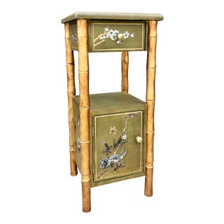 Mid 20th Century English Chinoiserie Faux Bamboo Side Table For Sale
