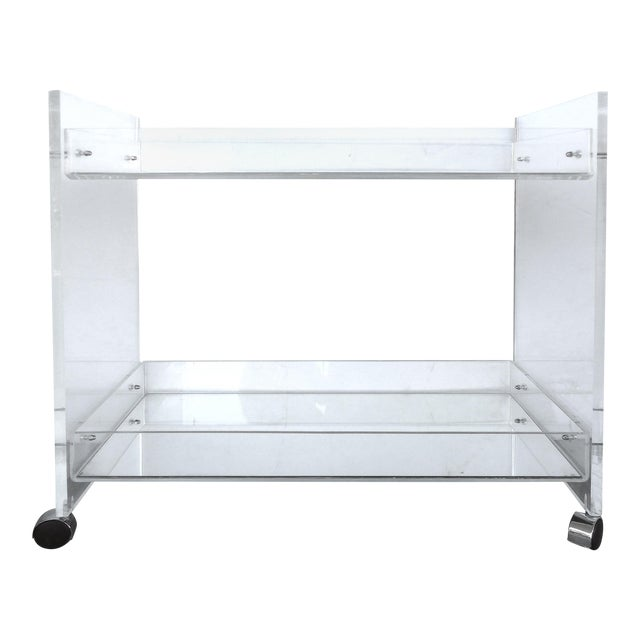 Bi-Level Rolling Lucite Bar Cart with Mirrored Serving Surfaces For Sale