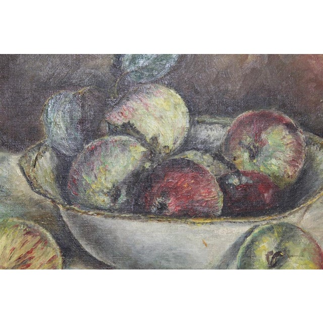 1930s Vintage Still Life With Apples Painting For Sale - Image 4 of 7