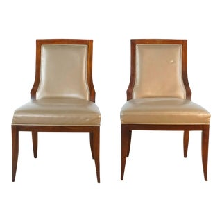 Vintage Baker Upholstered Dining Chairs- A Pair For Sale