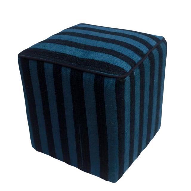 Boho Chic Arshs Donnetta Black/Blue Kilim Upholstered Handmade Ottoman For Sale