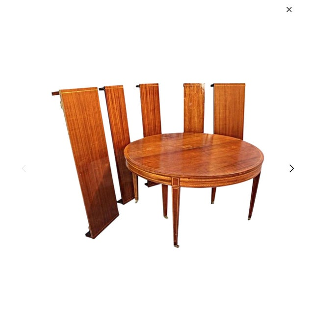 Sheraton Style Inlaid Dining Table With Five Leaves - Image 2 of 10