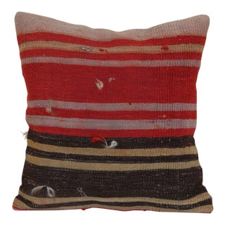 Red Oriental Kilim Rug Pillow For Sale
