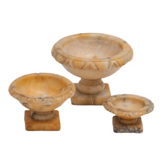 17th Century Italian Alabaster Tazzas - Set of 3 For Sale