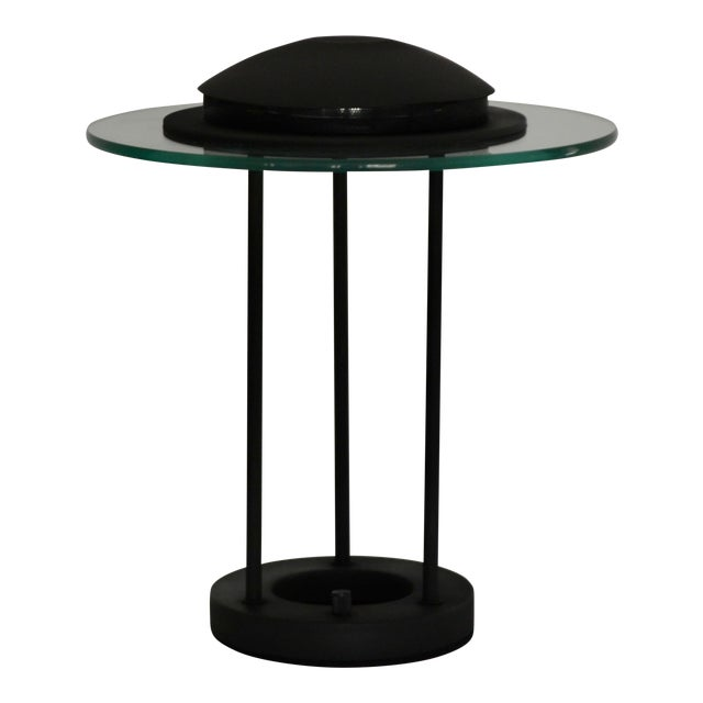 Postmodern Matte Black Table Lamp With Glass Disk For Sale