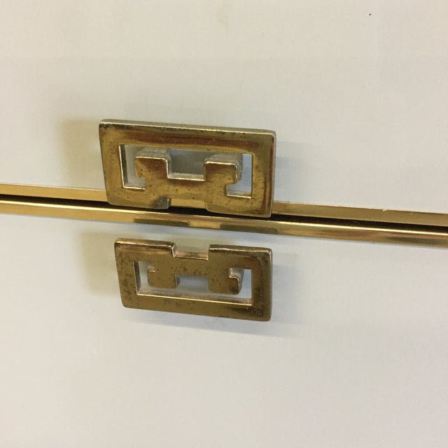 1980s White Lacquer 6 Drawer Dresser With Greek Key Brass Pulls For Sale - Image 5 of 10