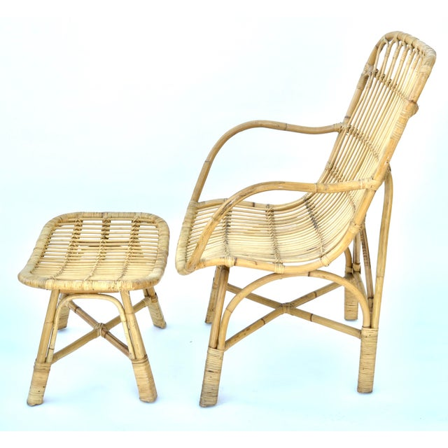 Mid-Century Modern Vintage Rattan Bamboo Chair and Ottoman For Sale - Image 3 of 7