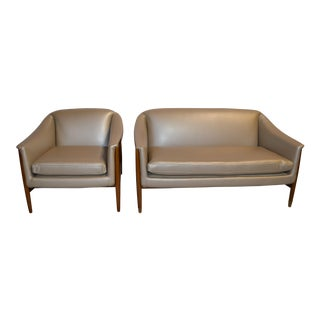 Mid Century Modern Danish Loveseat and Side Lounge Chair Set Newly Upholstered - 2 Piece Set For Sale