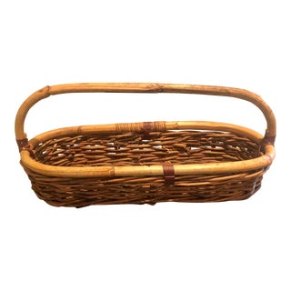1960s Vintage Bamboo Basket For Sale