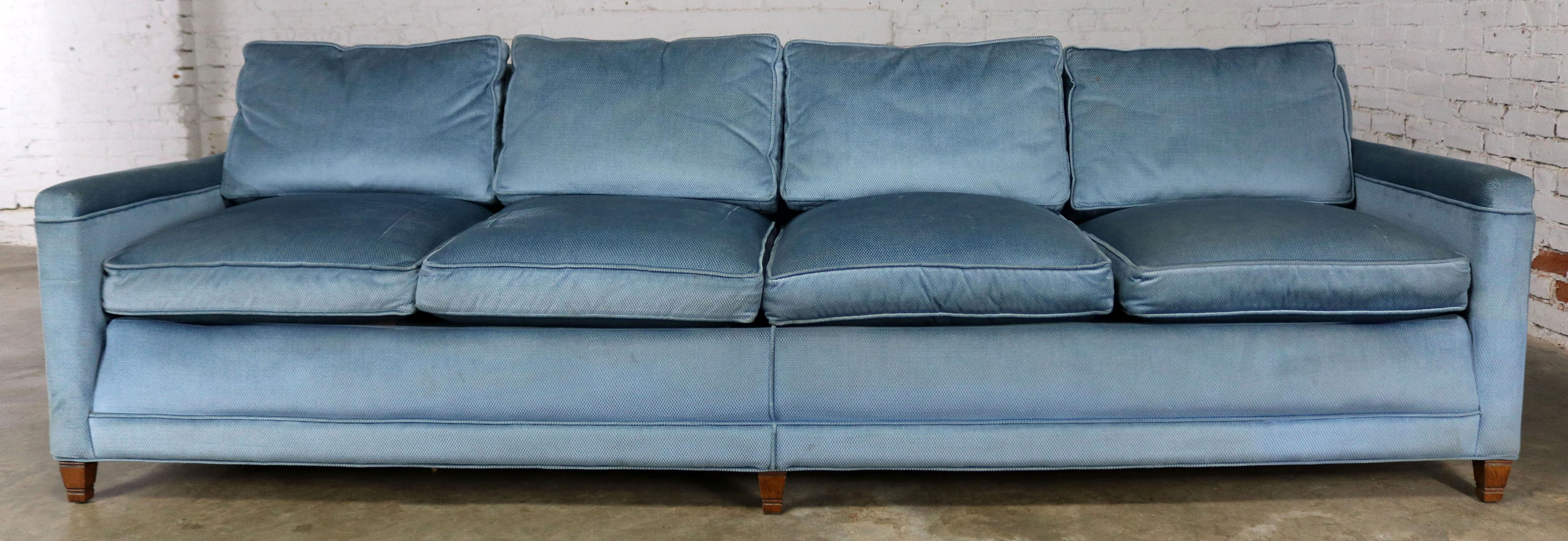 Slender And Simple Lawson Style Four Cushion Sofa In Powder Or Wedgwood  Blue Upholstery. This
