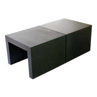 Contemporary Square Metal Coffee or Side End Tables - A Pair For Sale