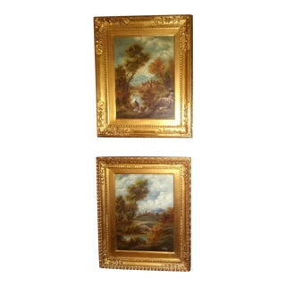 19th Century Antique European Gold Giltwood Framed Pastoral Landscape Oil Painting-a Pair For Sale
