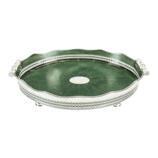 English Plated Shagreen Interior High Border Gallery Tray For Sale