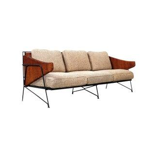 Rare Salterini Iron and Cane Sofa For Sale