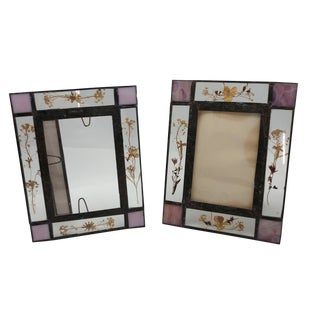 Vintage Handmade Leaded/Stained Glass and Pressed Flower Picture Frames - a Pair For Sale