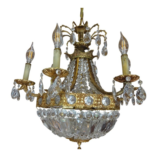 French Crystal Empire Style Chandelier - Image 1 of 8