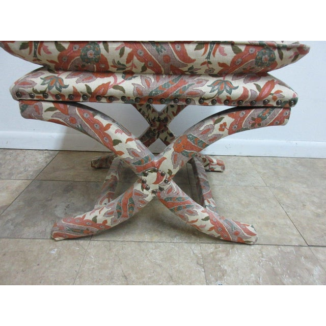 Custom Upholstered Ottoman Stool For Sale - Image 5 of 7