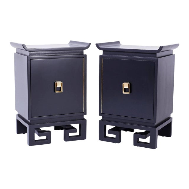 Mid-Century Black Lacquered Bedside Chests or Nightstands - A Pair For Sale