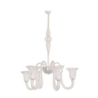 Six Arm Clear Venetian Murano Chandelier, C. 1960