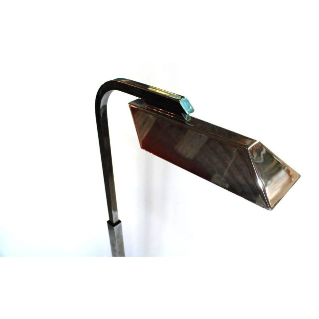 """A vintage Charles Hollis Jones adjustable Pharmacy floor lamp in nickel. Signed and dated 1973. As pictured, it is 46""""..."""