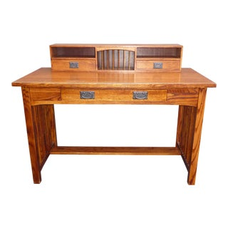 Vintage Restoration Hardware Oak Wood Secretary Desk