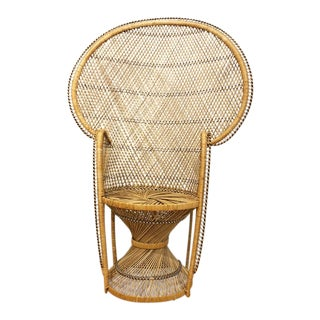 1970s Vintage Rattan Peacock Fanback Chair For Sale