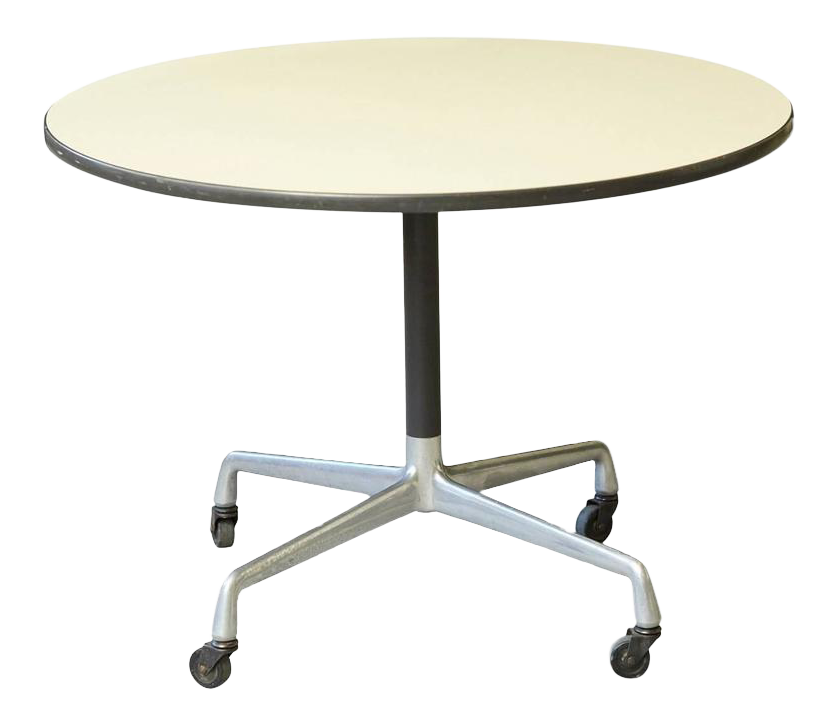 Eames Aluminum Group Round Side Table On Casters For Herman Miller For Sale