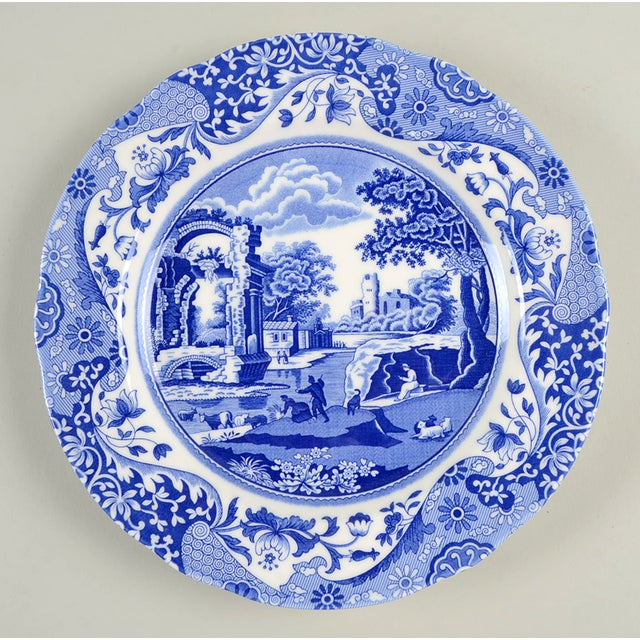 Spode Blue Italian Luncheon Plate Set/8 features the iconic blue and white transferware first introduced in 1816 in Stoke-...