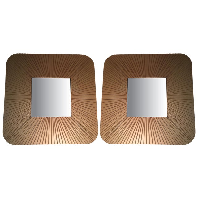 Vintage Art Deco Revival Gold Mirrors - Pair - Image 1 of 3