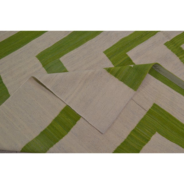 Green Maimana Afghan Kilim - 7′10″ × 9′7″ - Image 5 of 6