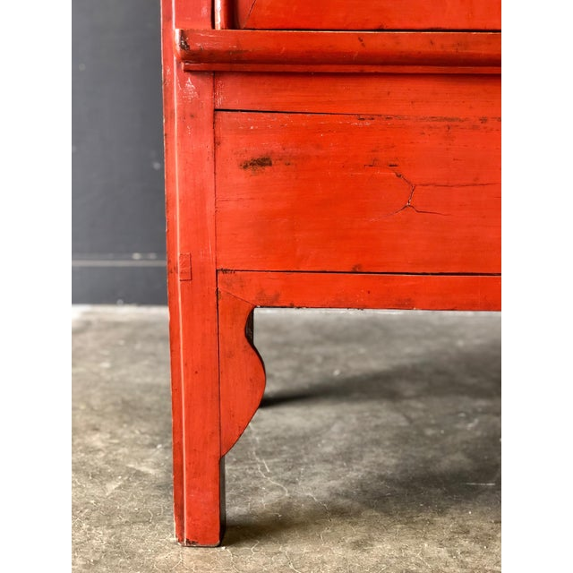 Antique Red Asian Cabinet For Sale - Image 11 of 13
