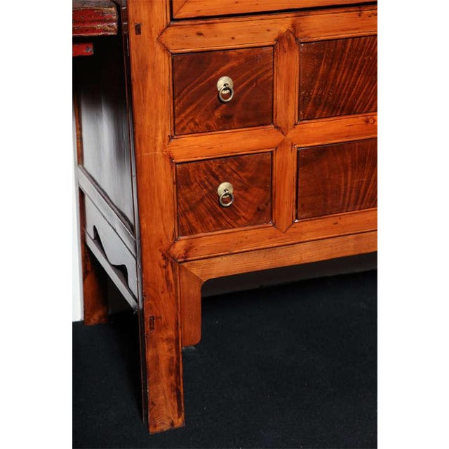 Large Chinese Hebei Burl Wood Paneled Cabinet With Brass Hardware C. 1900 For Sale In New York - Image 6 of 11