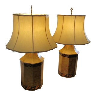 Chelsea House Large Tole Ochre Table Lamps - A Pair For Sale