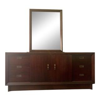Mahogany Mid-Century Modern Dresser & Mirror For Sale
