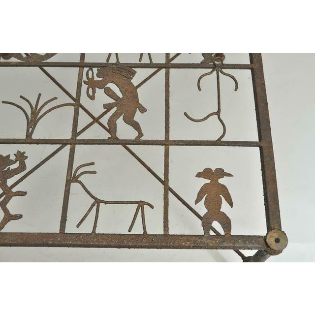 Late 20th Century Metal and Glass Square Brutalist Coffee Table With Native American Glyph Figures For Sale - Image 5 of 11
