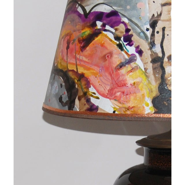 Tortoise Glaze Lamp W/Hand Painted Lampshade - Image 5 of 5